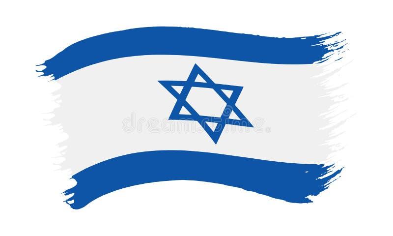 Флаг покрашенный Brushstroke Израиля иллюстрация вектора