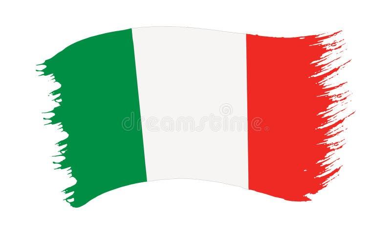 Флаг покрашенный Brushstroke Италии иллюстрация вектора