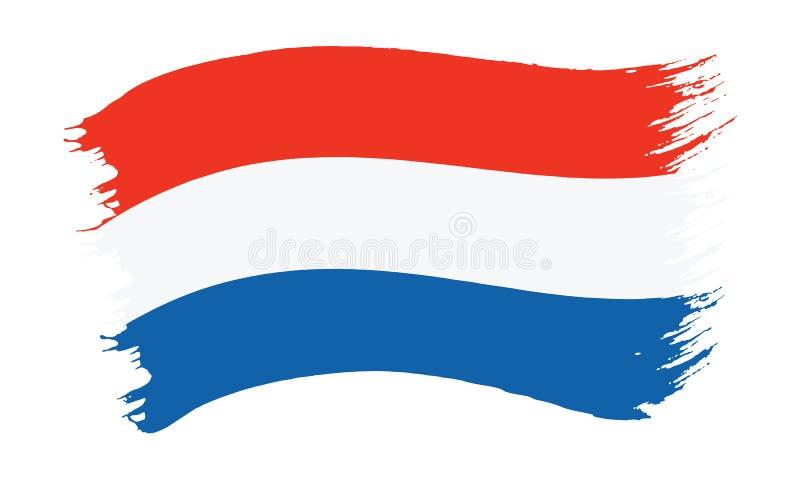 Флаг покрашенный Brushstroke Нидерланд иллюстрация вектора