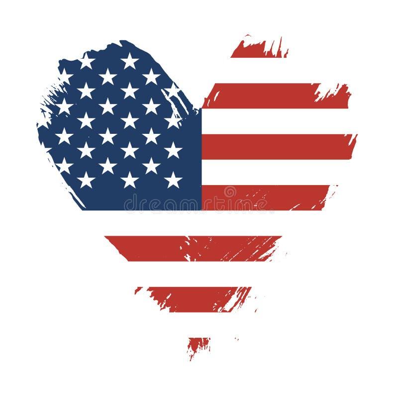 Флаг покрашенный Brushstroke США иллюстрация вектора