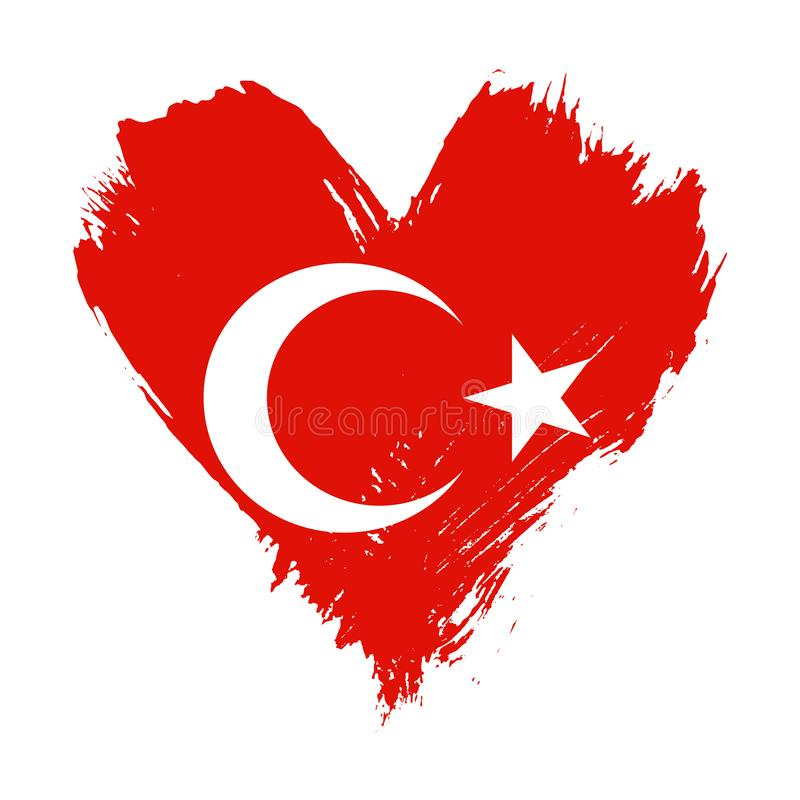 Флаг покрашенный Brushstroke Турции иллюстрация штока