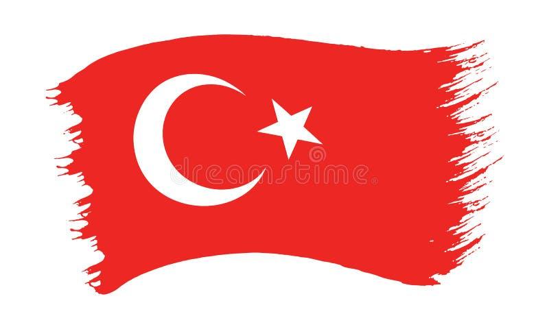 Флаг покрашенный Brushstroke Турции иллюстрация вектора