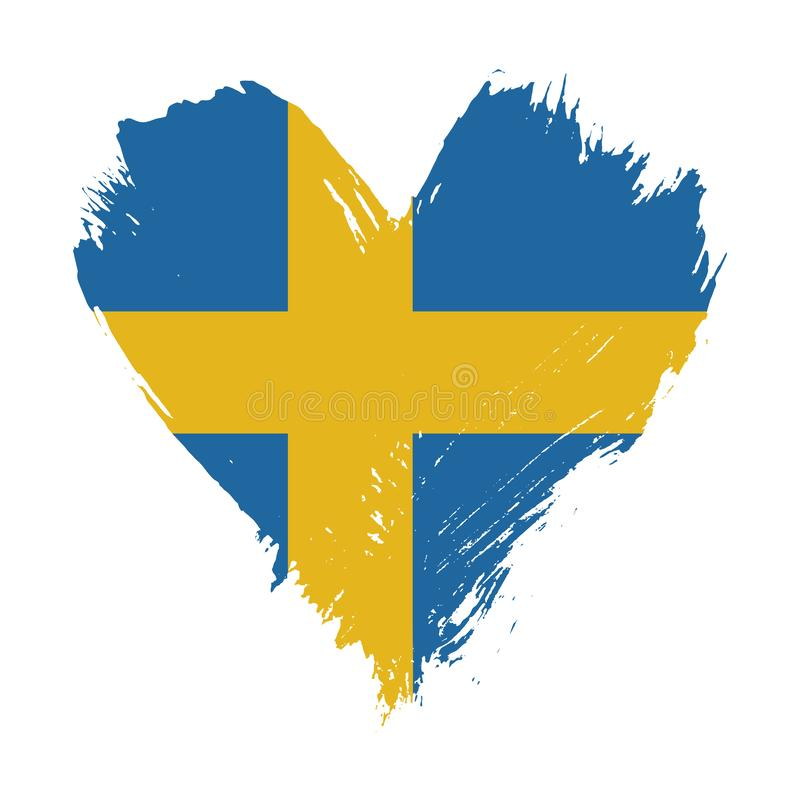 Флаг покрашенный Brushstroke Швеции иллюстрация штока