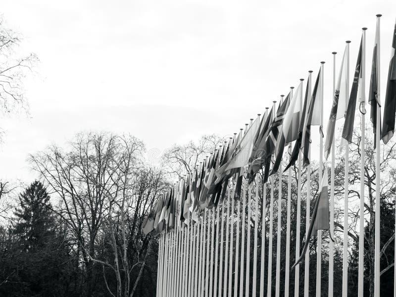Флаг полу-рангоута летания России на Совете Европы в Strasbou стоковые фотографии rf