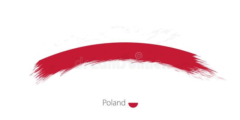 Флаг Польши в округленном ходе щетки grunge иллюстрация штока