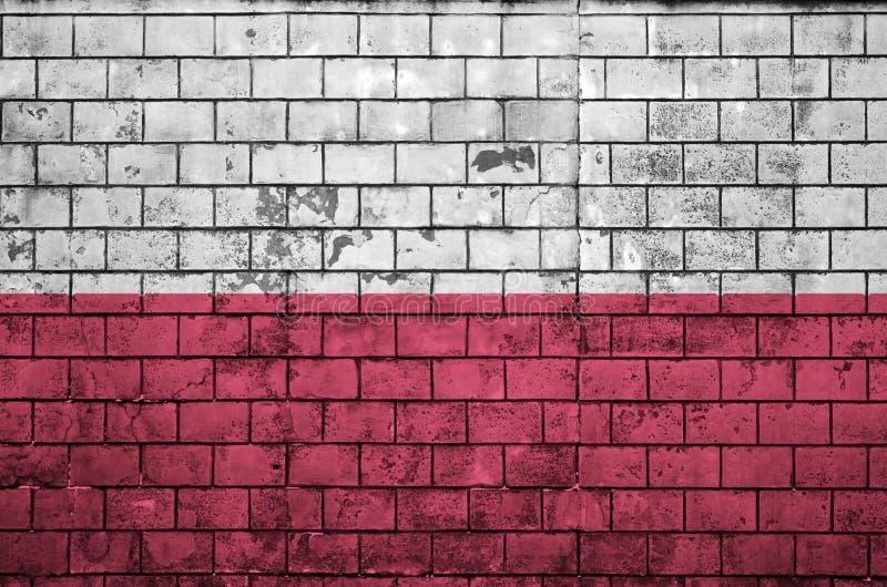 Флаг Польши покрашен на старую кирпичную стену стоковая фотография