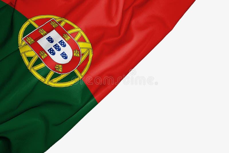 Флаг Португалии ткани с copyspace для вашего текста на белой предпосылке иллюстрация вектора