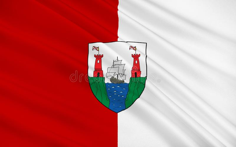 Флаг пробочки графства самое большое и самое южное графство в инфракрасн иллюстрация штока