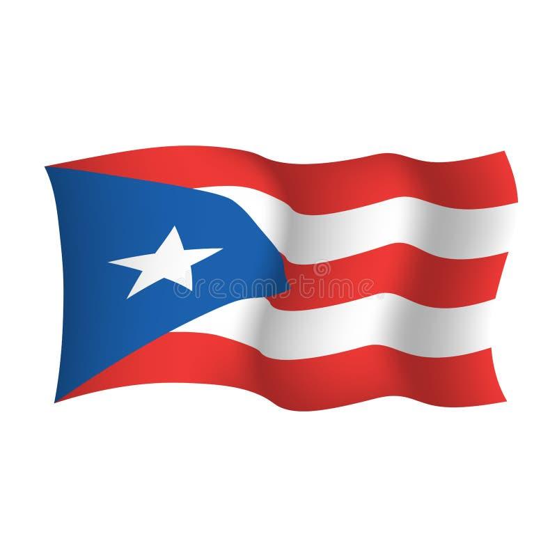 Флаг развевая вектора Пуэрто-Рико Государство Пуэрто-Рико Соединенных Штатов Америки иллюстрация штока