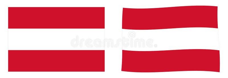 Флаг Республики Австрии Простая и немножко развевая версия иллюстрация вектора