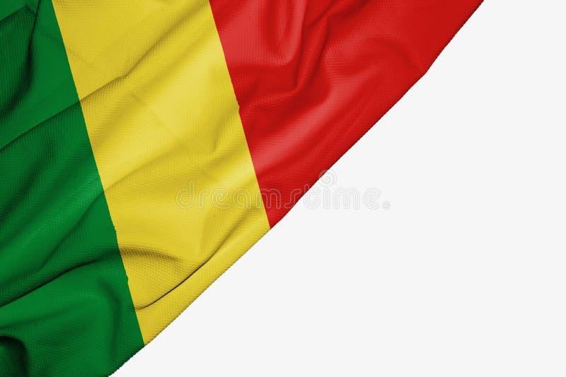 Флаг Республики Конго ткани с copyspace для вашего текста на белой предпосылке иллюстрация штока