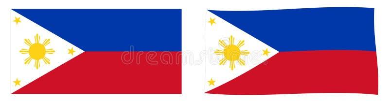 Флаг Республики Филиппины Простое и немножко развевая ver иллюстрация штока