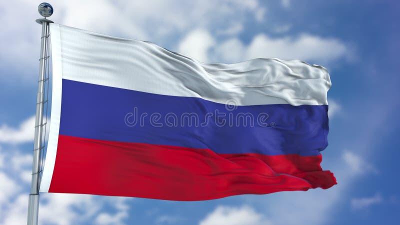 Флаг России в голубом небе стоковые изображения rf