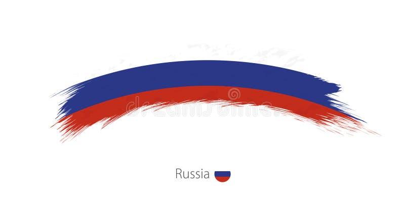 Флаг России в округленном ходе щетки grunge иллюстрация вектора