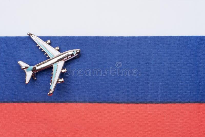 Флаг России и самолета Концепция перемещения стоковое фото rf
