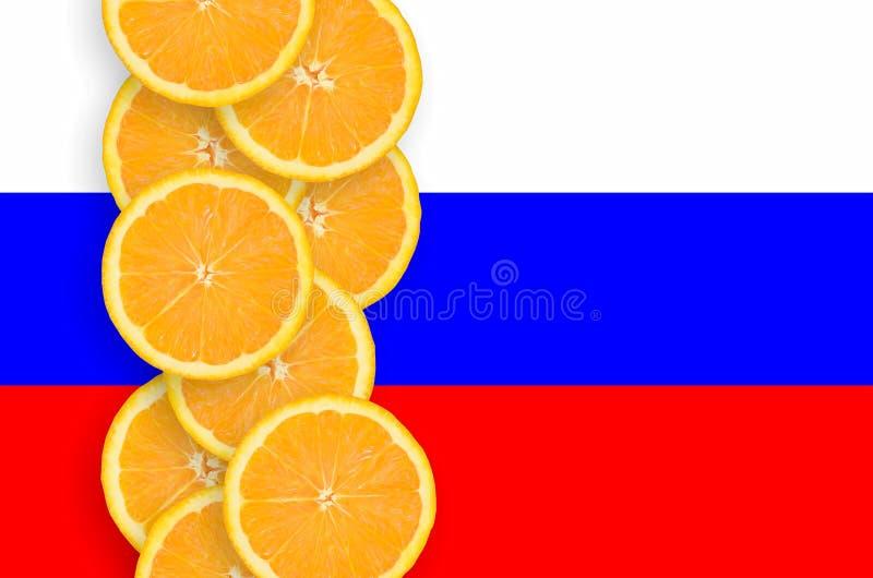 Флаг России и строка кусков цитрусовых фруктов вертикальная стоковые изображения rf