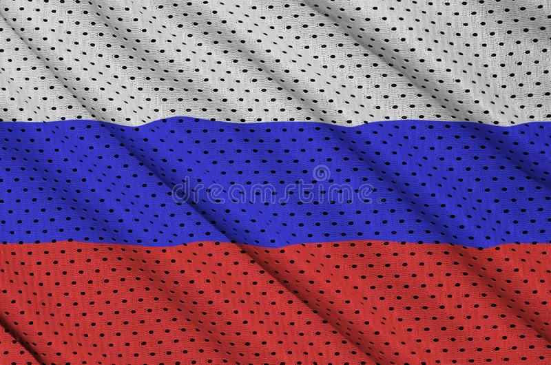 Флаг России напечатал на ткани сетки sportswear нейлона полиэстера стоковое фото rf