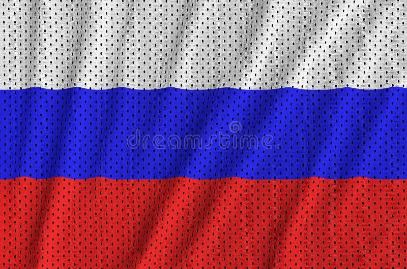 Флаг России напечатал на ткани сетки sportswear нейлона полиэстера стоковые фотографии rf