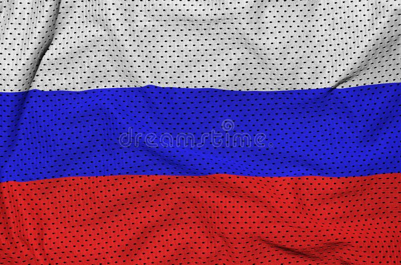 Флаг России напечатал на ткани сетки sportswear нейлона полиэстера стоковое фото