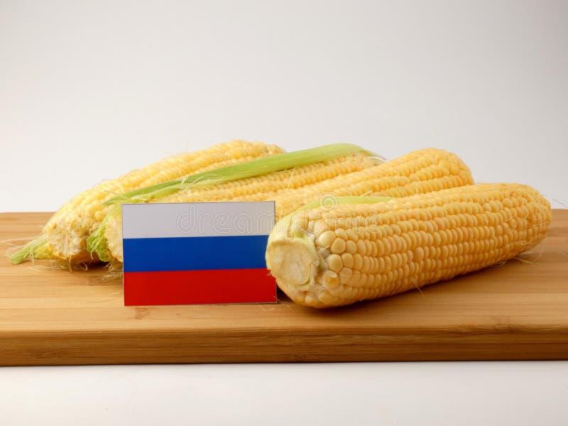 Флаг России на деревянной панели при мозоль изолированная на задней части белизны стоковые фотографии rf