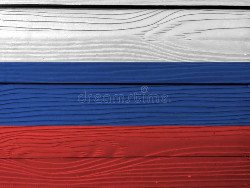 Флаг России на деревянной предпосылке стены Текстура флага Grunge русская стоковые изображения rf