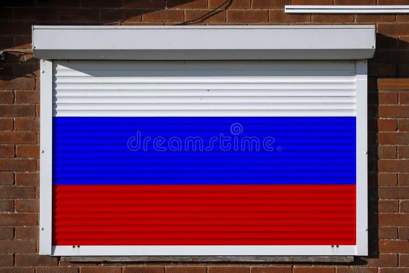 Флаг России на закрытых штарках безопасностью стоковые изображения