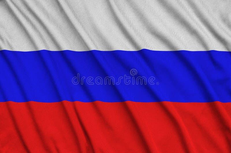 Флаг России показан на ткани ткани спорт с много створок Знамя команды спорта стоковые изображения rf
