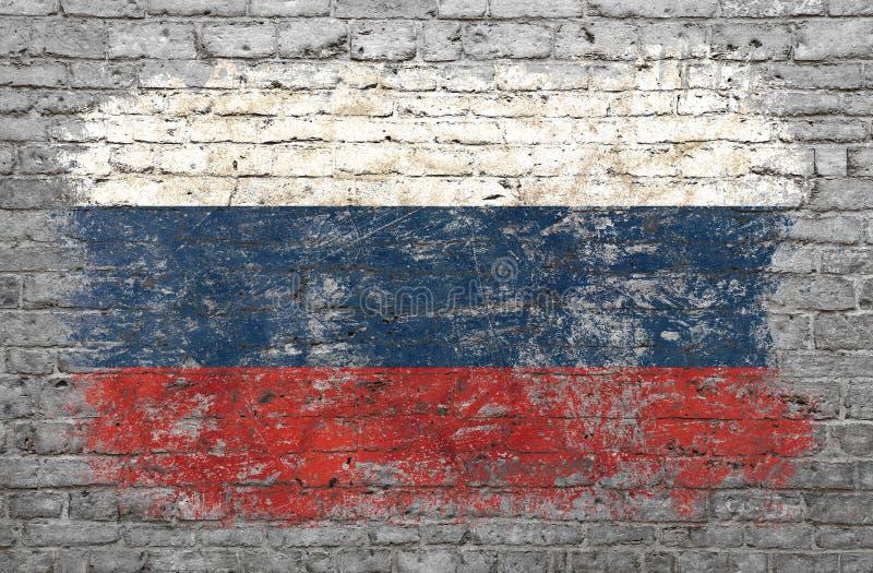 Флаг России покрасил на кирпичной стене стоковые изображения rf