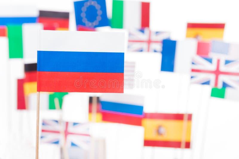 Флаг России против флагов страна-участниц ЕС стоковое фото rf