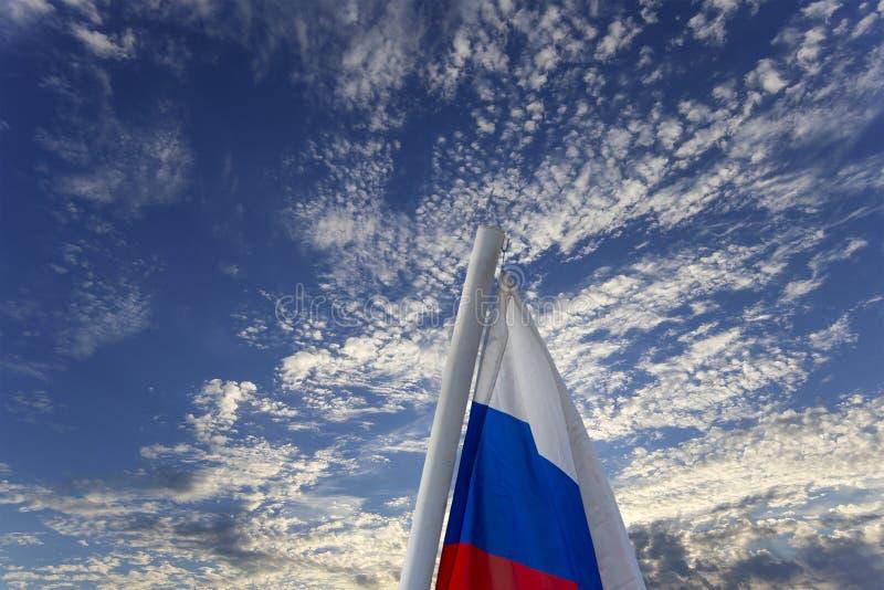 Флаг России развевая в ветре против неба 3 цвета русского волнистого флага как патриотический символ стоковое фото rf