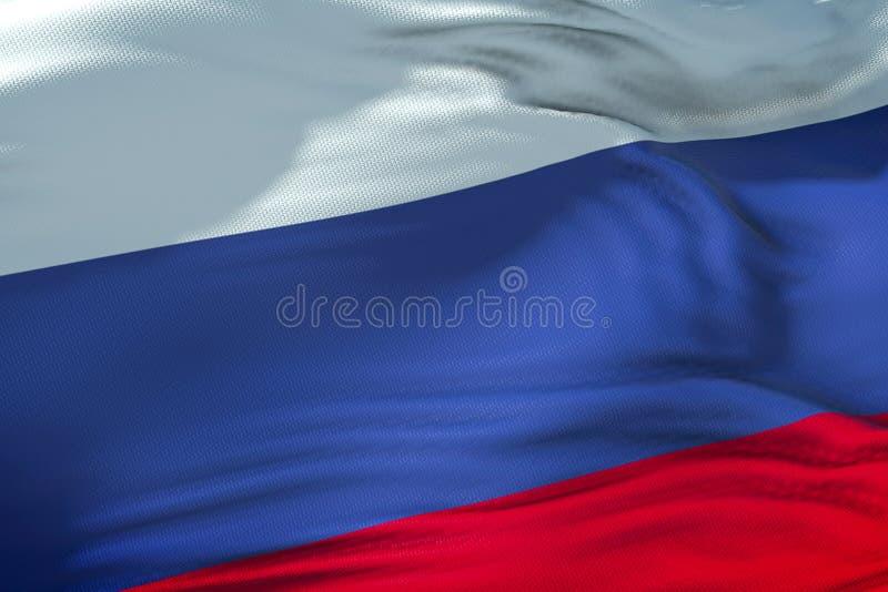 Флаг России развевая в ветре, флаге Российской Федерации, clos стоковая фотография