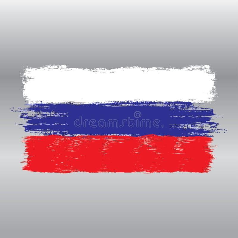 Флаг России, стиля щетки акварели иллюстрация штока