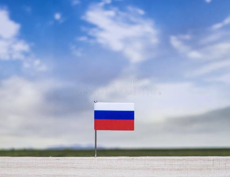 Флаг России с обширным лугом и голубым небом за им стоковая фотография rf