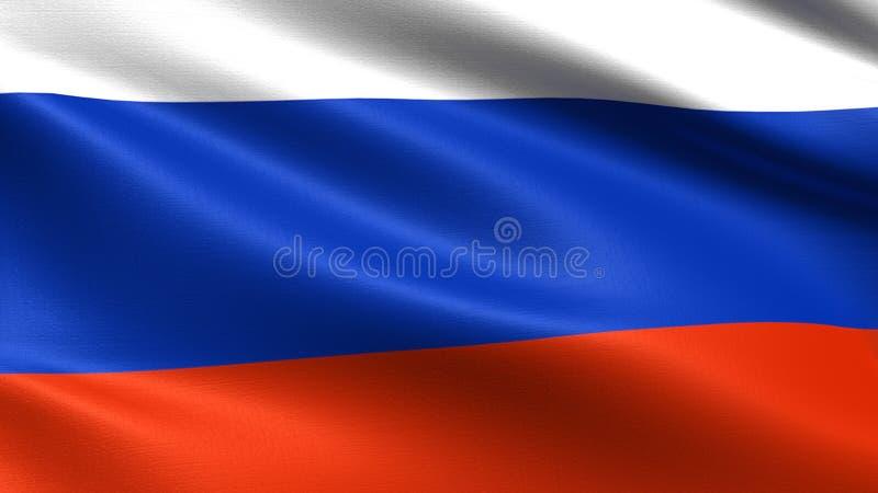 Флаг России, с развевая текстурой ткани иллюстрация штока