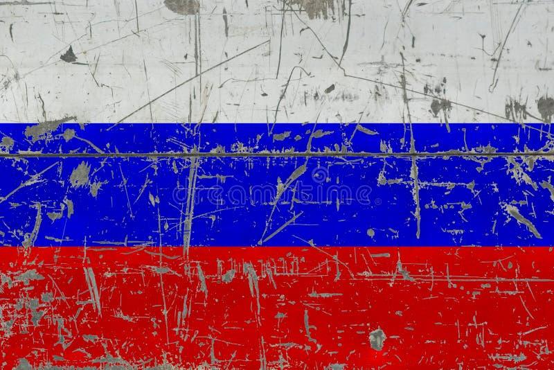 Флаг России Grunge на старой поцарапанной деревянной поверхности Национальная винтажная предпосылка стоковая фотография