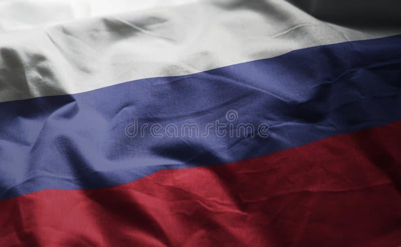 Флаг России Rumpled близкая вверх стоковое фото rf