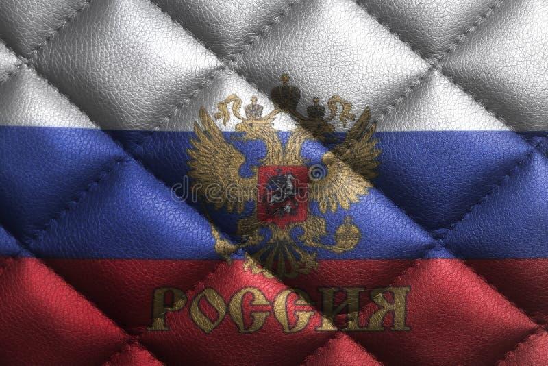 Флаг Российской Федерации с эмблемой России на кожаной текстуре стоковое изображение rf