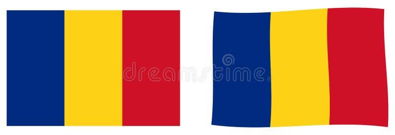 флаг Румыния Простая и немножко развевая версия иллюстрация вектора
