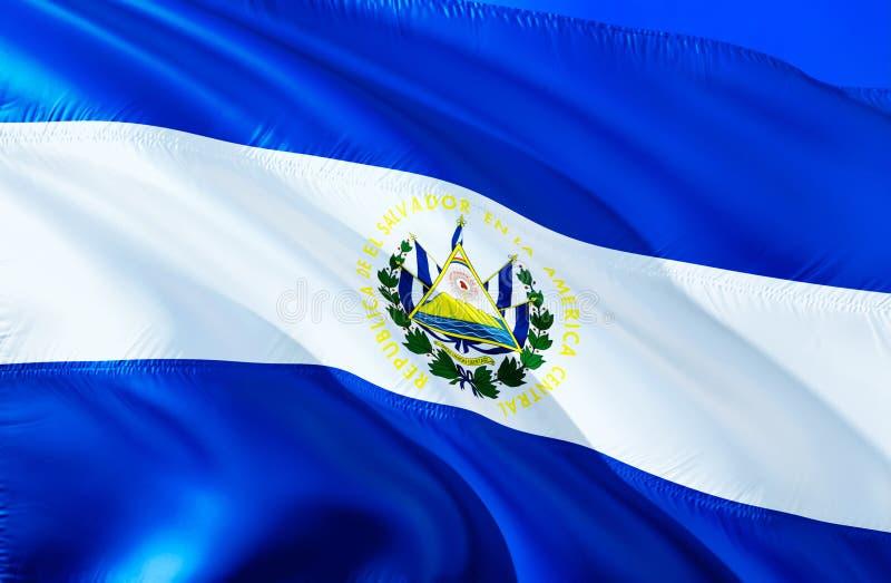Флаг Сальвадора развевая дизайн флага 3D Национальный символ Сальвадора, перевода 3D Национальные цвета и национальный юг стоковая фотография rf