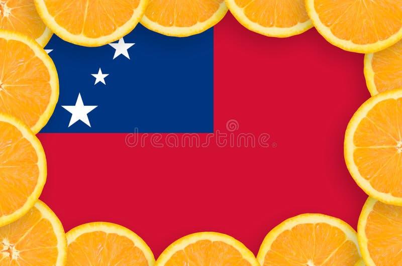 Флаг Самоа в свежей рамке кусков цитрусовых фруктов иллюстрация вектора
