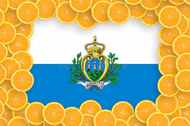 Флаг Сан-Марино в свежей рамке кусков цитрусовых фруктов бесплатная иллюстрация