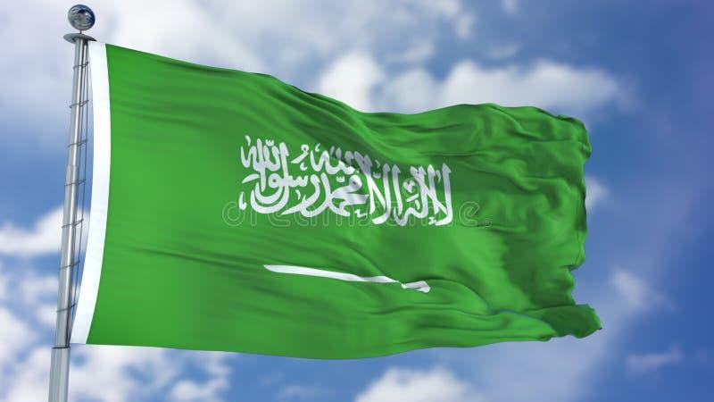 Флаг Саудовской Аравии в голубом небе стоковое изображение