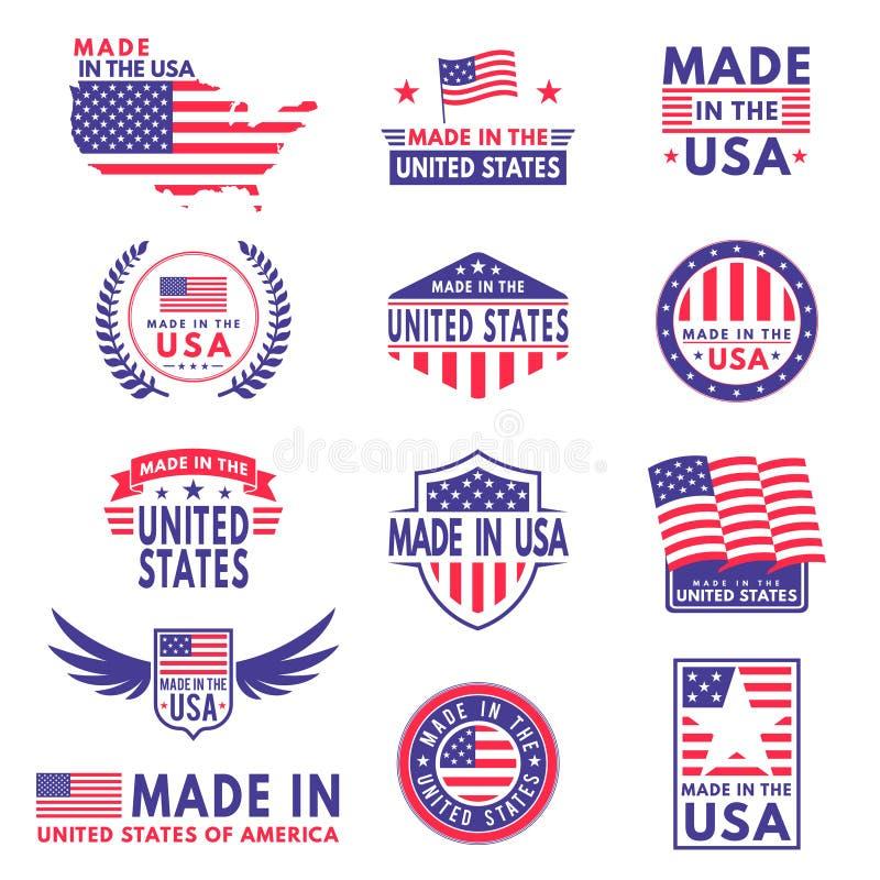 Ярлыки США Флаг сделал Америкой американские штаты флаги обозначают знамя стикера эмблемы ленты нашивки патриота звезды печати зн иллюстрация штока