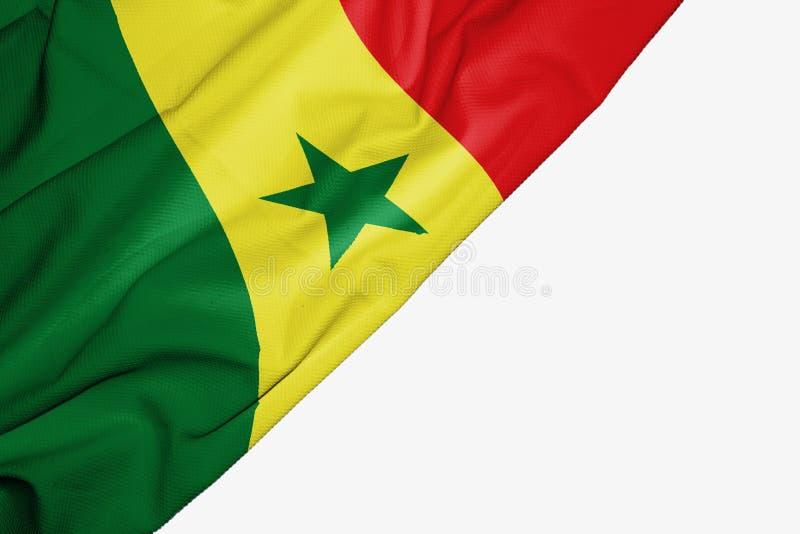 Флаг Сенегала ткани с copyspace для вашего текста на белой предпосылке иллюстрация вектора
