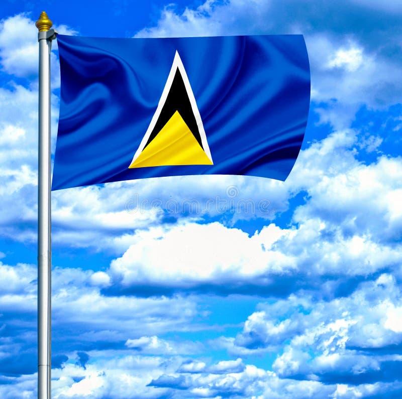 Флаг Сент-Люсия развевая против голубого неба стоковые фото