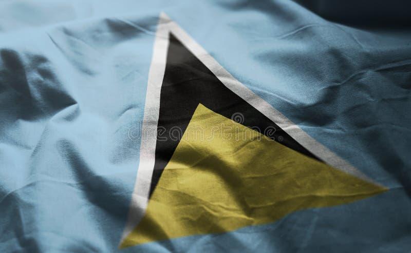 Флаг Сент-Люсия Rumpled близкая вверх стоковое изображение