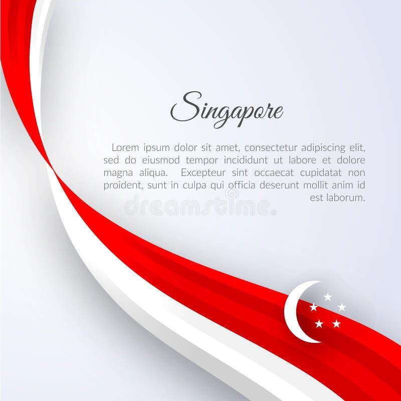 Флаг Сингапура знамени на линиях светлой изогнутых предпосылкой ленты красных белых с предпосылкой Сингапура текста патриотическо бесплатная иллюстрация