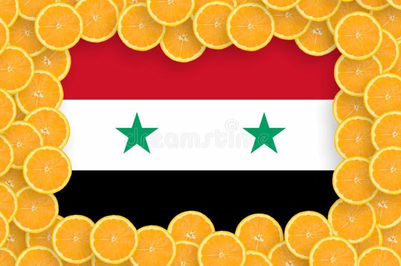 Флаг Сирии в свежей рамке кусков цитрусовых фруктов иллюстрация вектора