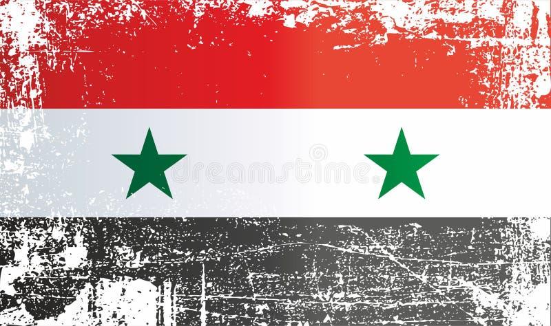 Флаг Сирии Сирийская арабская республика, сморщенные грязные пятна иллюстрация вектора