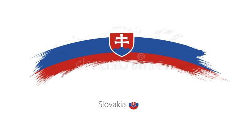 Флаг Словакии в округленном ходе щетки grunge иллюстрация вектора